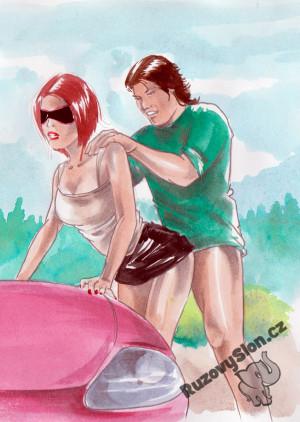 muž se ženou souloží u auta