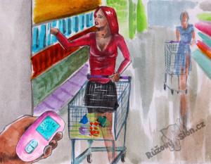 žena nakupuje s vibračním vajíčkem