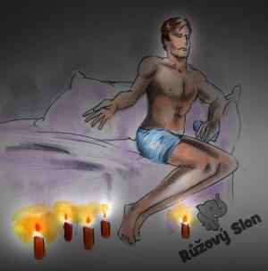muž na posteli