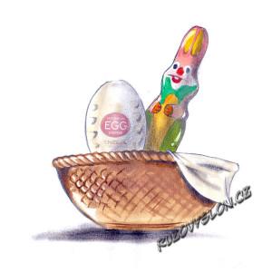Masturbační vajíčko Tenga Egg a čokoládový zajíc