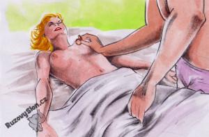 Muž dráždí ženě prsa vibračním kroužkem.