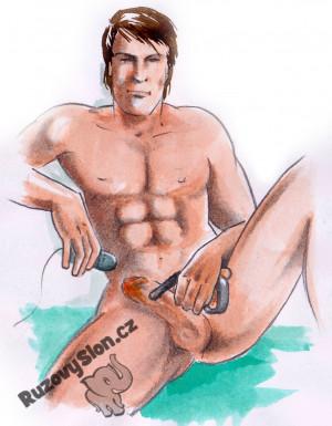 Muž si dráždí penis P-Wandem na masáž prostaty.