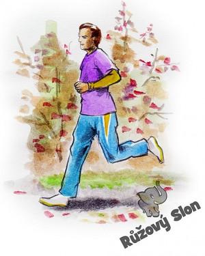 Muž běhá v parku s análními kuličkami.