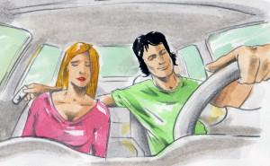 Pár jede v autě.