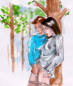 Pár si v lese užívá s vibrátorem na klitoris.