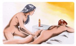 Žena masíruje partnera hřejivým olejem