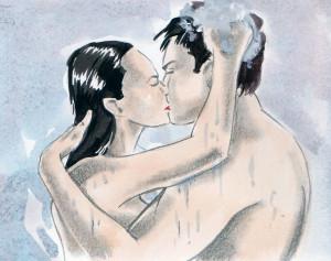 Pár se mazlí ve sprše.