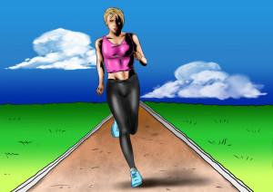 Žena si užívá běh s venušinými kuličkami.