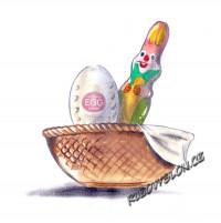 velikonoční zajíc a vejce v ošatce