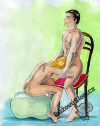 žena uspokojuje muže na židli