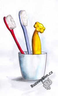 Vibrátor Květinka mezi zubními kartáčky.
