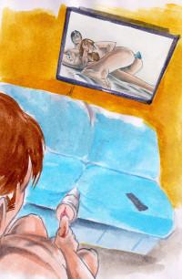 Muž si užívá s umělou vaginou v gauči