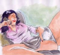 Žena mluví s partnerem po telefonu a masturbuje.