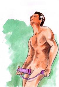 Muž masturbuje s vakuovou pumpou.