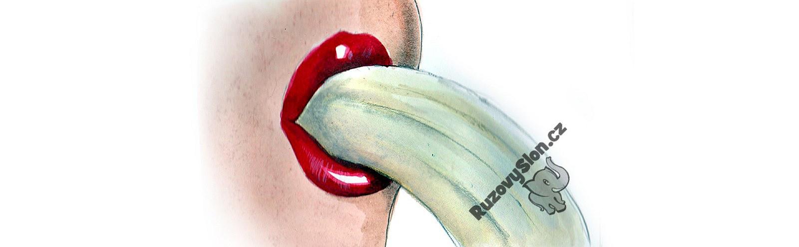 ženská ústa s banánem