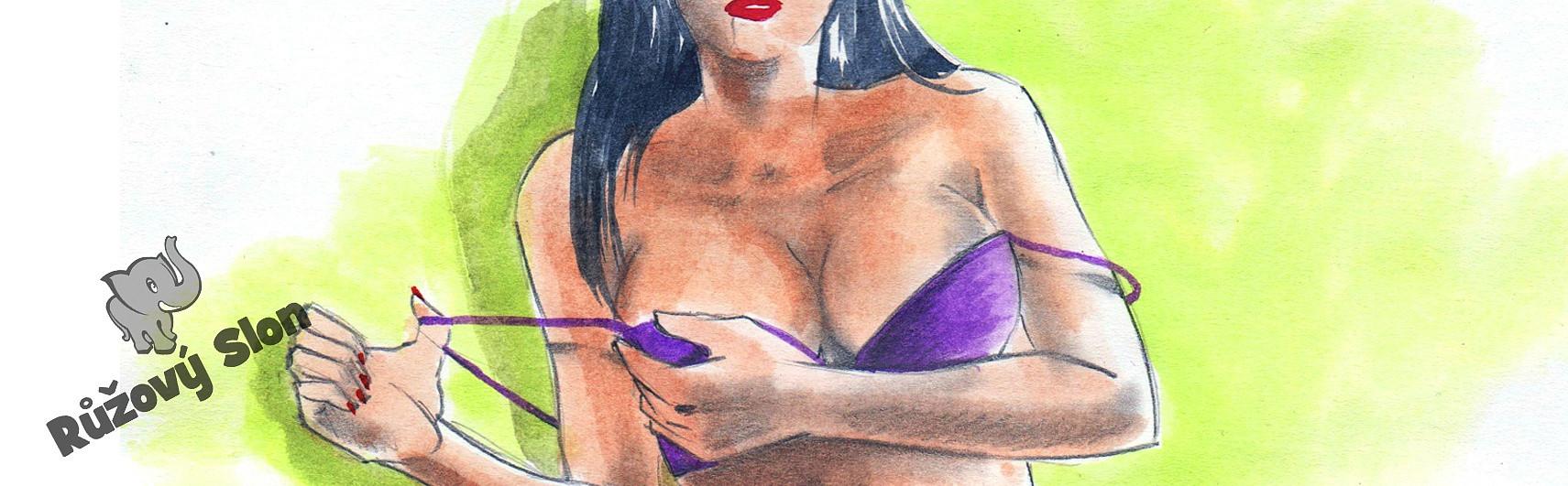 žena si svléká podprsenku