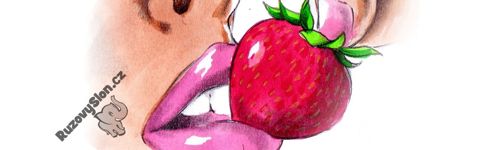 ústa s jahodou