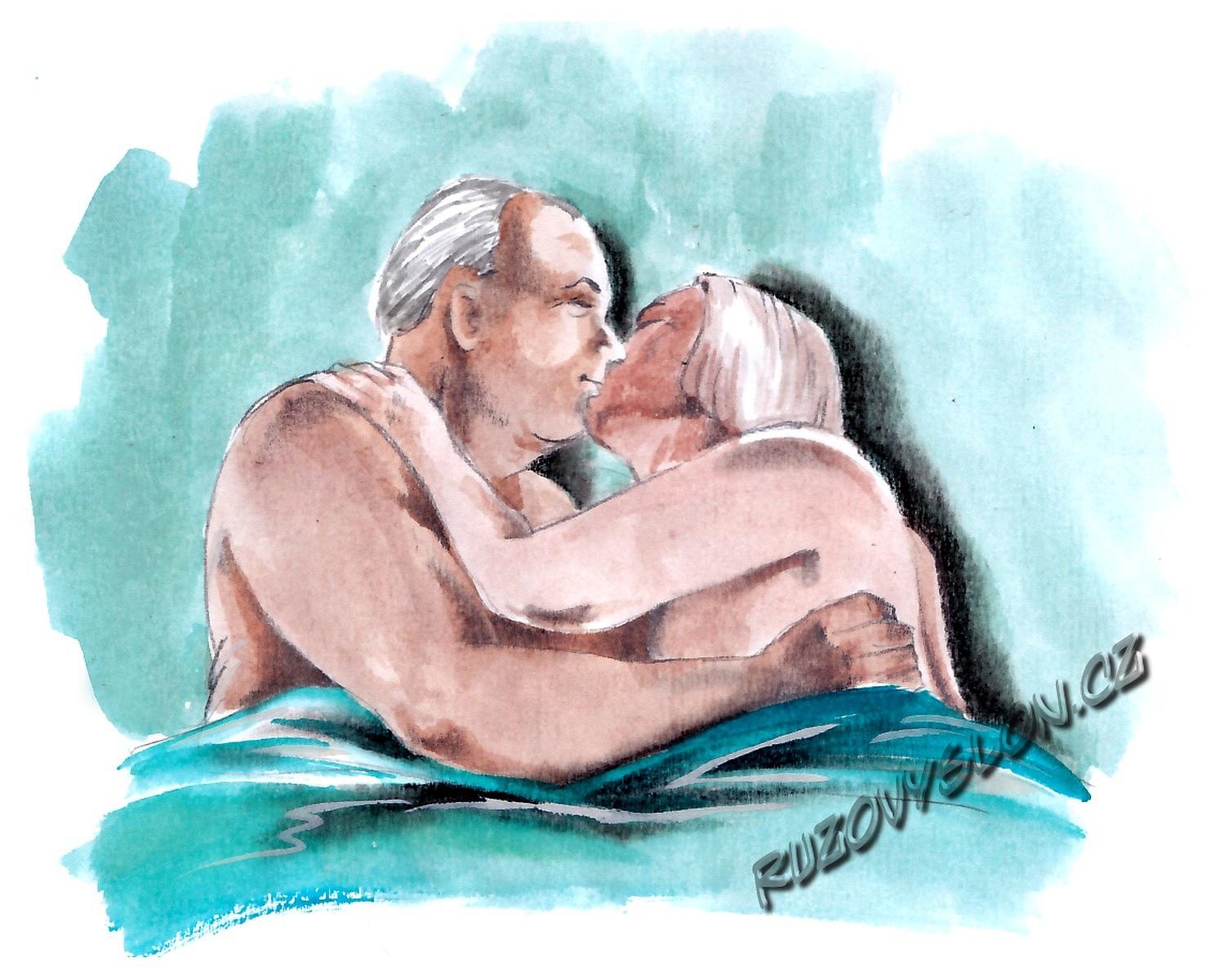 starší lidé v posteli