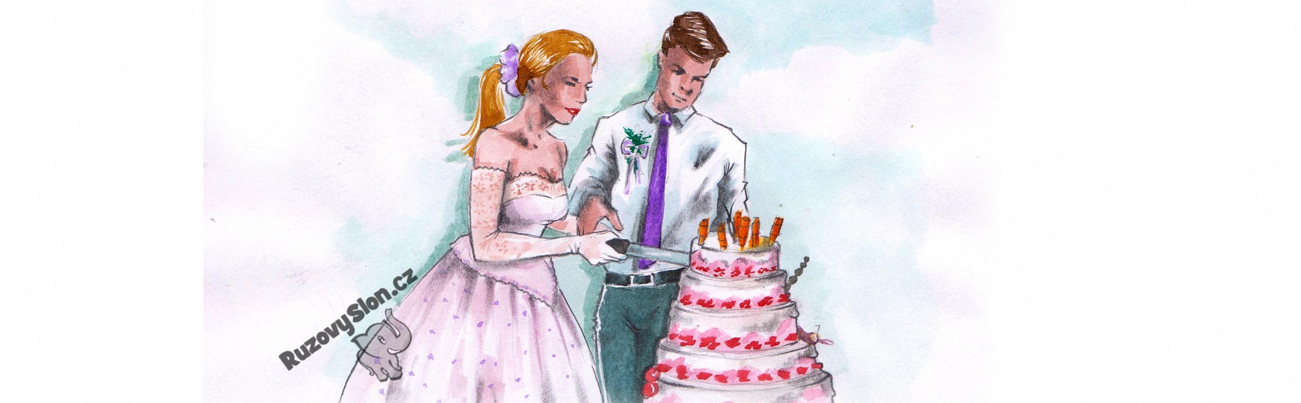 Manželé krájí svatební dort