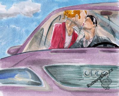 pár se líbá v autě