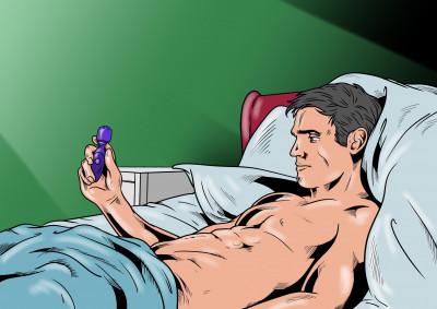 Muž masturbuje s vibrátorem