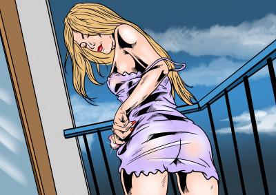 Žena se uspokojuje na balkóně