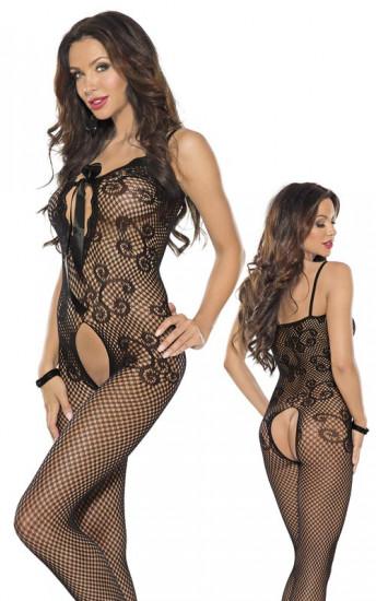 Catsuit černý sexy design krajky