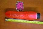 Vibrátor gelový Červený drak s vroubky 20 cm