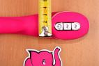 Vibrátor Raspberry Rabbit, s dvojitým silikonem – měříme šířku u ovládání