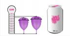 Menstruační kalíšek Libicup, rozměry v porovnání s plechovkou