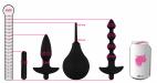 Anální sada Vibro Partners, rozměry v porovnání s plechovkou