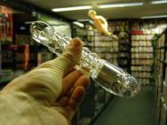Vibrátor průhledný + násada 19*3 cm