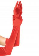 Saténové rukavice Fingerprint, červené