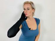 Saténové rukavice Fingerprint, černé