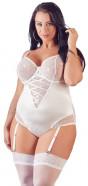 Plus size perleťově bílé body Suspenders