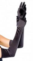 Saténové rukavičky Fingerprint, černé
