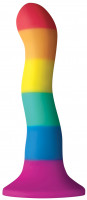 Dildo s přísavkou Rainbow Wave (17 cm)