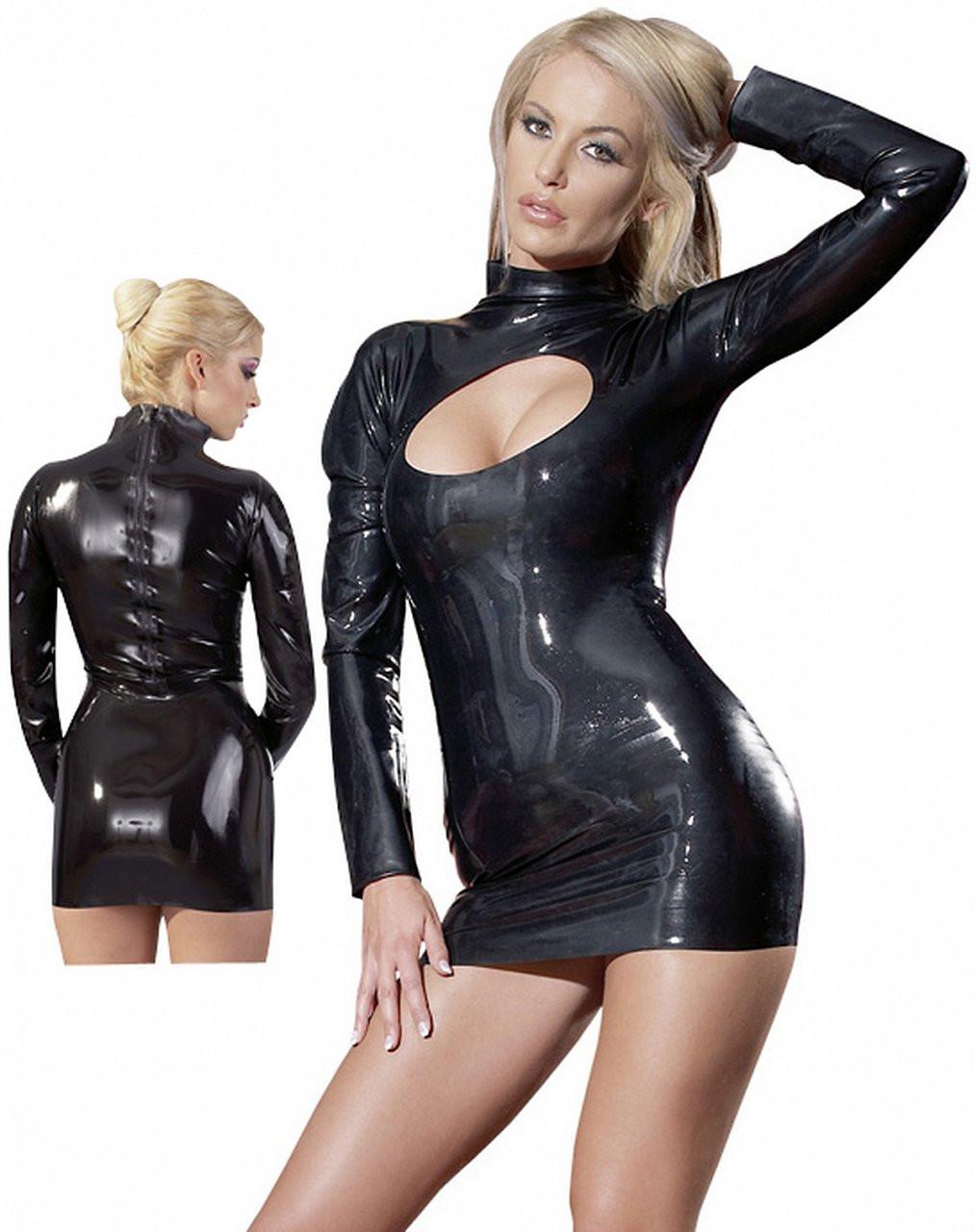 LateX šaty s dlouhým rukávem Gloss, M